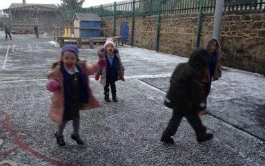 Reception enjoy the first snowfall!
