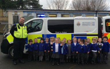 Nursery explore inside a police van!