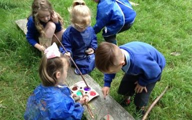 Reception explore forest school…
